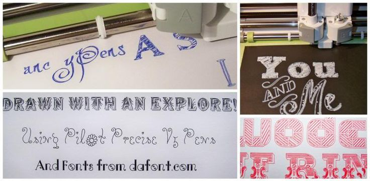 Finding and using alternative handwriting fonts in the Design Space/Cricut Explore!  Post includes how to download fonts, how to use them in Design Space, sampling of pen sizes, link to list of different pens that work in the Explore, chalkboard fonts, decorative pen art fonts, links to all fonts used.