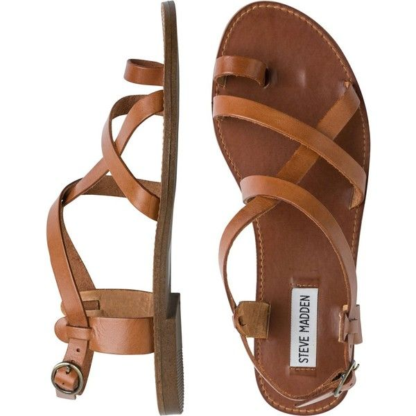 STEVE MADDEN Agathist sandal (£43) ❤ liked on Polyvore featuring shoes, sandals, flats, ankle wrap sandals, ankle strap flats, strappy gladiator sandals, roman sandals and ankle strap gladiator sandals