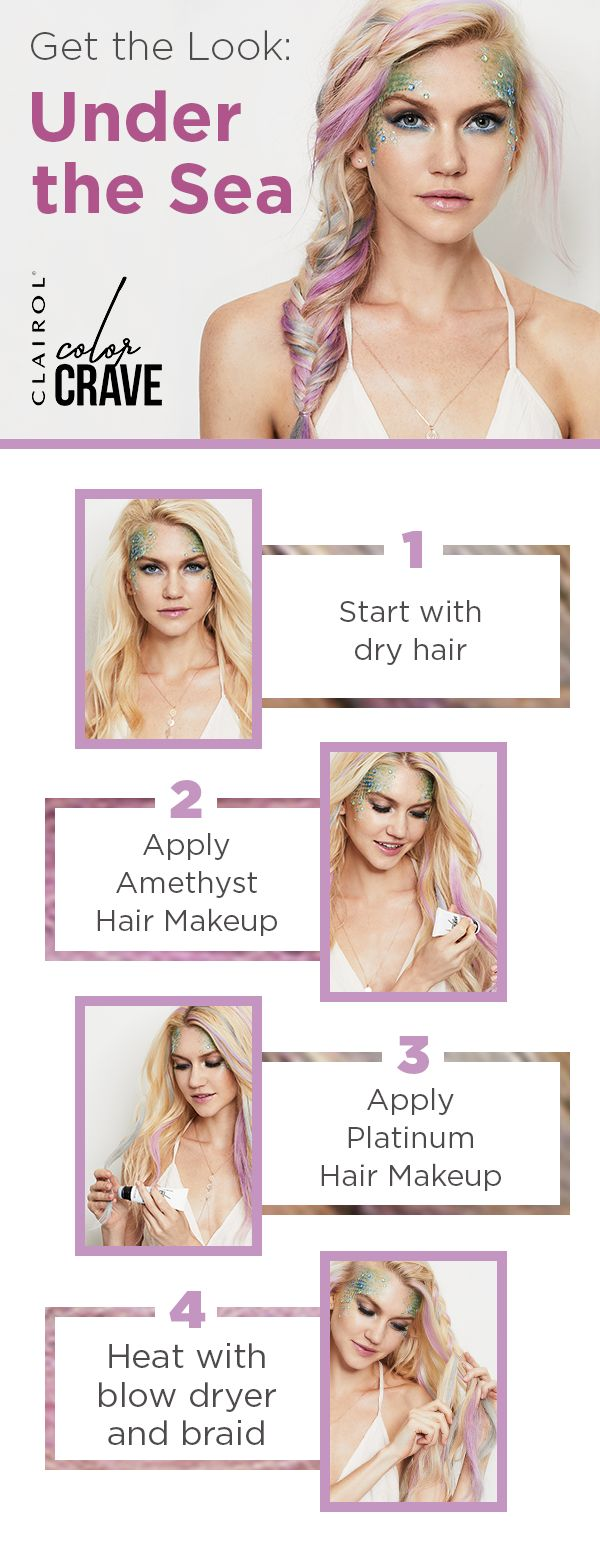 Make some serious waves at your Halloween party with this year's must-have look -- Mermaid Hair. Start with dry hair and then apply Clairol Color Crave Amethyst and Platinum Hair Makeup. Heat with a blow dryer and then style into a fishtail braid. Combine it with some smokey eyes and teal contouring and you're ready to make a splash. Click to get the look.