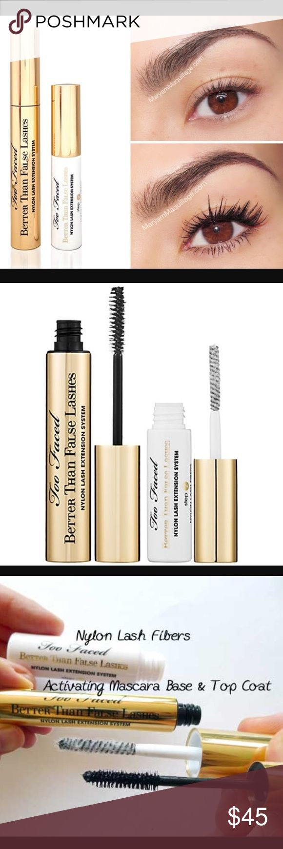 Too Faced Better Than False lashes Mascara This do-it-yourself 3 step system allows you to achieve the dramatic impact of false lashes and Extreme length of lash extensions without the hassle, cost or commitment. In great condition and never been used. NWOT Sephora Makeup Mascara
