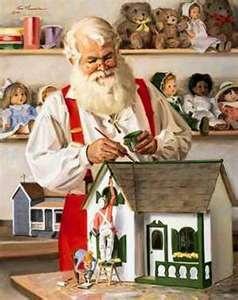 Santa in his workshop ~~~ Artist: Tom Browning