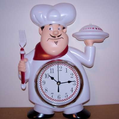 Fat French Chef Wine Wall Clock Kitchen Bistro Decor