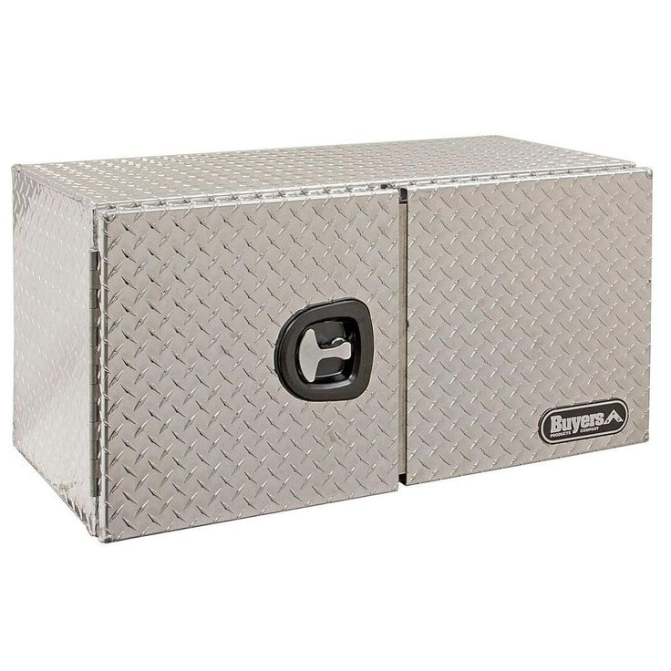Buyers Products Company 60 in. Aluminum Double Barn Door Underbody Tool Box with T-Handle Latch, Silver