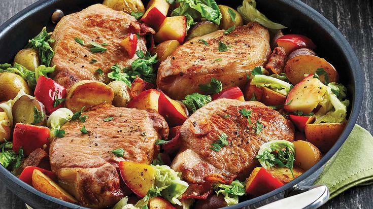 Essayez cette recette faciel de côtelettes de porc à la pomme et au chou