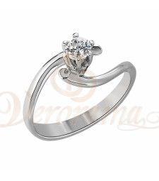 Μονόπετρo δαχτυλίδι Κ18 λευκόχρυσο με διαμάντι κοπής brilliant - MBR_025