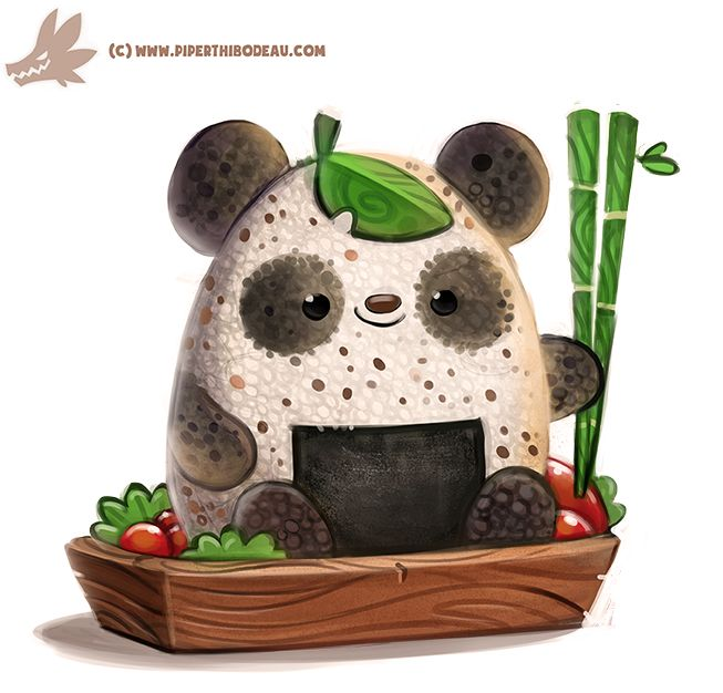 Rice Ball Panda by Cryptid-Creations, Cute Digital Painting, Illustration, Creature Design, Inspirational Art