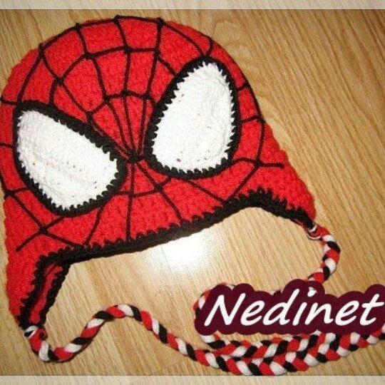 Crochet spiderman inspired hat pattern.