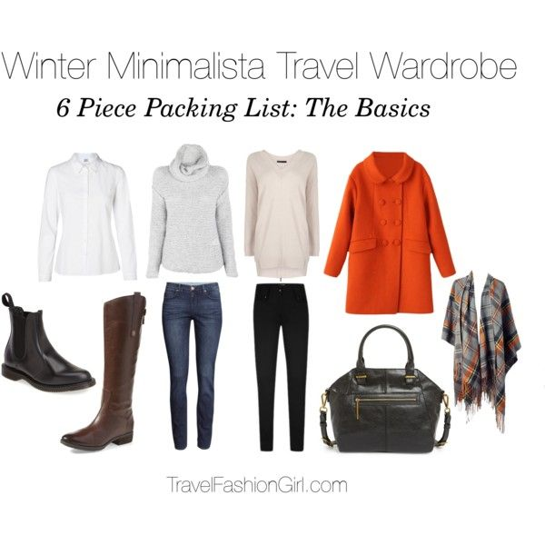 Sample 6 piece packing list and capsule wardrobe set for travel in the winter (the basic items to you started) - read the full packing guide!