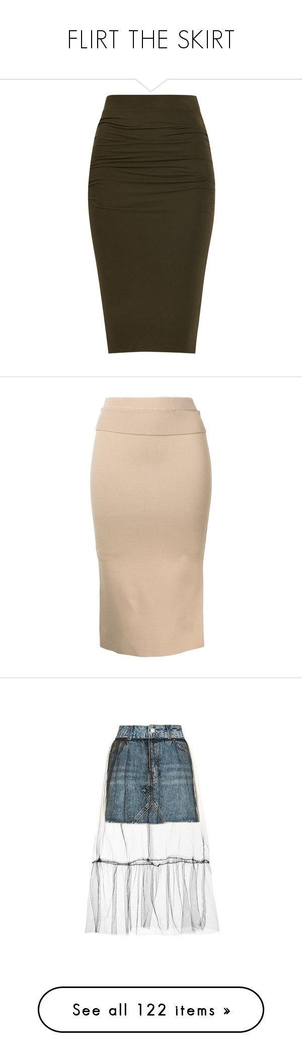 """FLIRT THE SKIRT"" by elizabethhorrell ❤ liked on Polyvore featuring skirts, bottoms, faldas, pants, pencil skirts, pencil skirt, knee length pencil skirt, brown pencil skirt, brown skirt and nude"