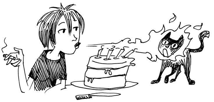 Birthday cake and cat