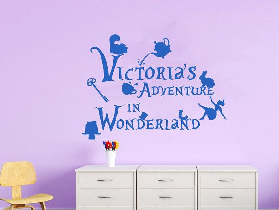 Alice in wonderland wall decals for girls name by lollipopdecals