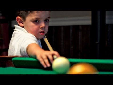 ▶ 5-Yr-Old Pool Prodigy - YouTube:  At just five years old, Keith pockets balls like a pro.  #Pool #Keith_ODell