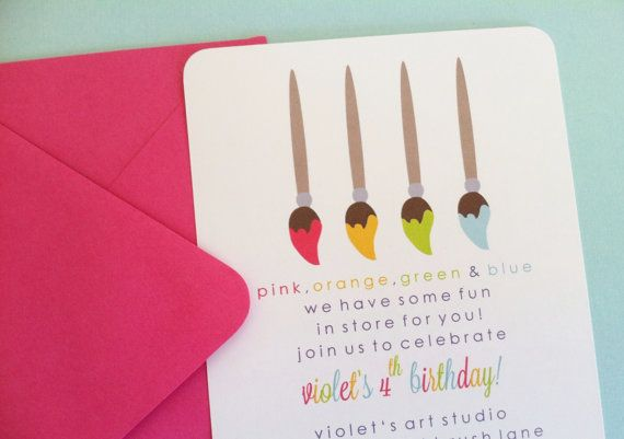Girl Art Party / Paint Party Birthday Party Invitation. $2.00, via Etsy.