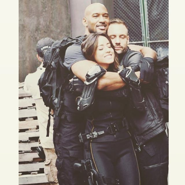 I hate my job . No fun. No love. #Tbt || Henry Simmons, Nick Blood, Chloe Bennet || Instagram || 640x640 || #cast #bts