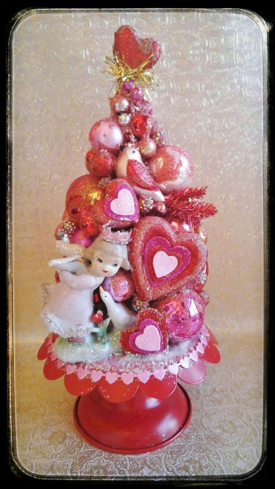 RESERVED For Bill, Valentineu0027s Day Tree, Bottle Brush Tree, JAPAN Angel OOAK