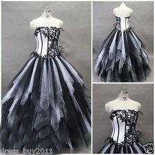 Gotische Tulle Schwarz /Weiß Hochzeitskleid  Brautkleid  Benutzerdefinierte 32+
