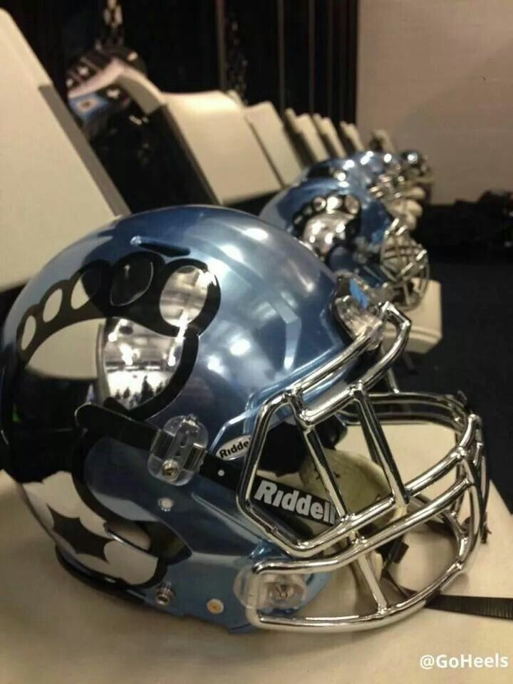 New helmets for Carolina/Duke game. On the back is the state of North Carolina.