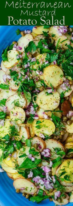 Mediterranean Style Mustard Potato Salad | The Mediterranean Dish. Light, flavor-packed mustard potato salad with Mediterranean spices, fresh herbs and capers. So simple and gorgeous. The best potato salad with no mayonnaise. See this potoato salad recipe on TheMediterraneanDish.com