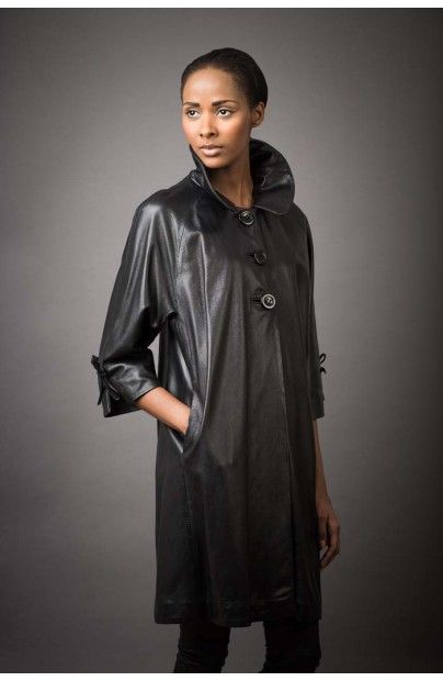 Butter soft lambskin ¾ leather coat