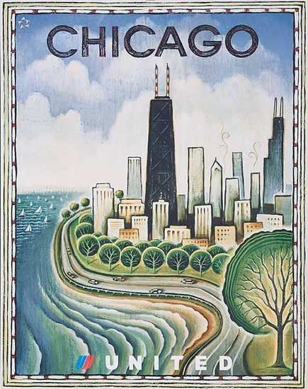 Original United Airlines Travel Poster Chicago