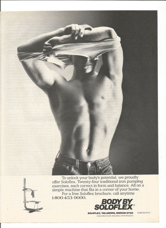 1984 advertentie Soloflex Shirtless Man Hot Body zwart-wit pompen ijzer 80s Fitness Gewichtheffen Gym training Studio Wall Art Decor