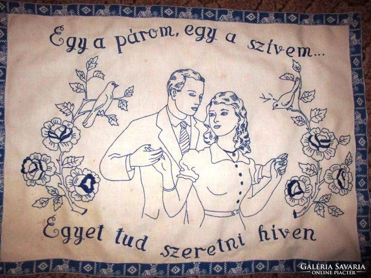 Régi hímzett falvédő - Egy a párom