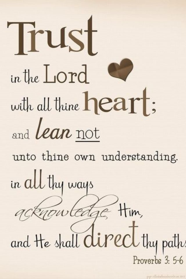 Proverbs 3:5-6 A verse given to me when I graduated from HS by Aunt Adeline that I've kept close to heart.