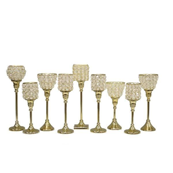 Crystal Candleholders || Gold candle holders in various sizes and shapes. Quantity: 15.