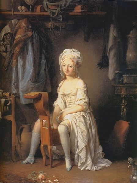 Boilly, La Toilette Intime ou la Rose Effeuille. Image @Wikimedia Commons Notice the feather duster hung behind her. Also note the placement of her shoe heals which are very difficult to find today.