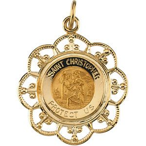 14kt yellow gold fancy St Christopher medal