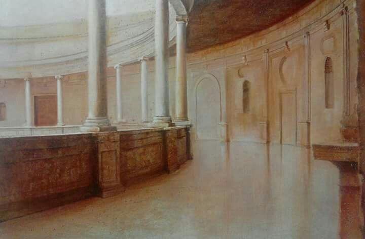 """""""Palacio Carlos V"""" oleo sobre lino"""