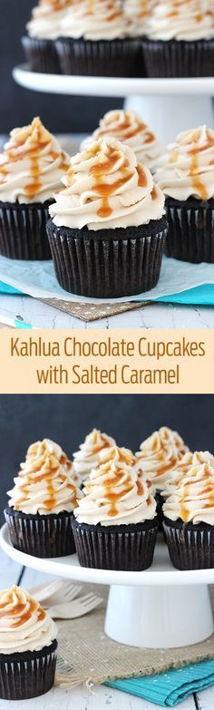 Kahlua Chocolate Cupcakes with a Salted Caramel Drizzle! So moist and delicious!