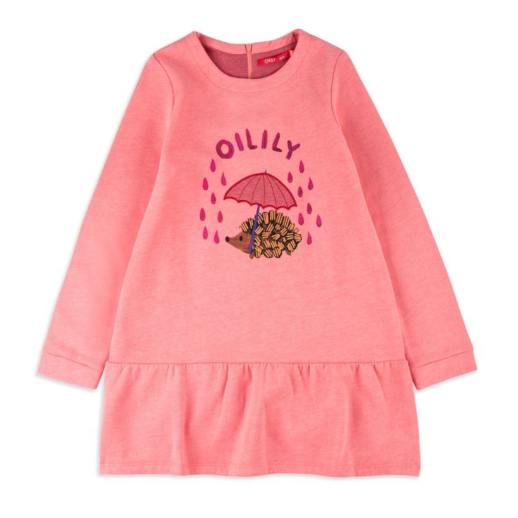 OILILY Girls 'Hanuka' Sweat Dress - Pink From £54 Girls long sleeve dress • Soft stretchy cotton • Round neckline • Ribbed collar and cuffs • Colourful hedgehog print • Material: 95% Cotton, 5% Elastane