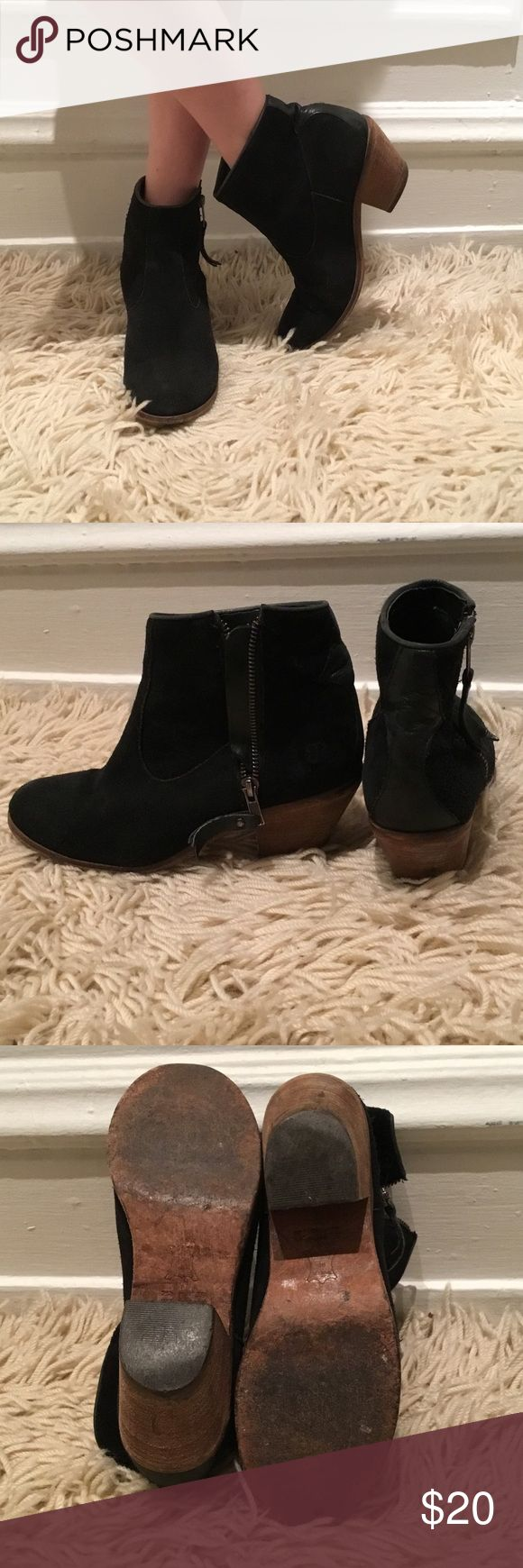 Gabriella Rocha, black suede heeled ankle boots. Gabriella Rocha, black suede and leather ankle boots, zip up, wooden heel. Leather section on up back of ankle ( zoom into 2 pic for closer look) Gabriella Rocha Shoes Ankle Boots & Booties