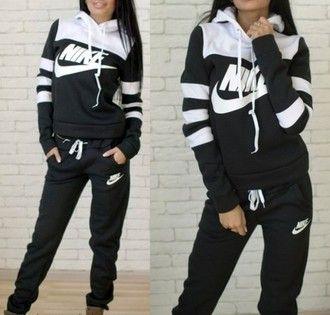 jumpsuit nike stripes striped sweater hoodie pants tracksuit sportswear sports pants earphones