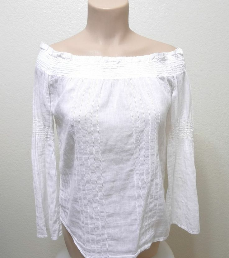 WOMEN MNG MANGO SPAIN off shoulder blouse size M White