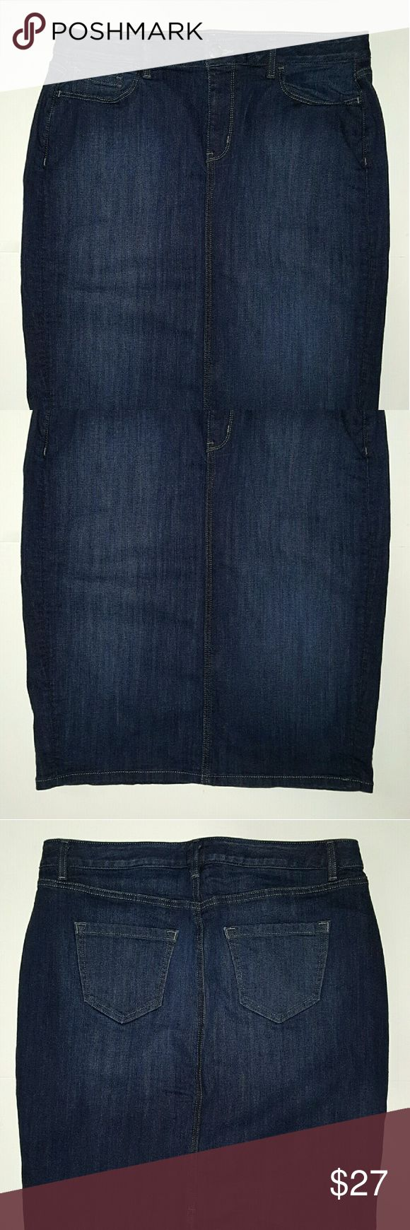 Lane Bryant Jean Skirt size 16 Woman's Pre-owned Lane Bryant Jean Skirt.  Size: 16  Color: Blue  Condition: Good Condition, No Visible Flaws.  Measurements:  Waist: approx. 36 inches.  Length: approx. 26.5 inches. Lane Bryant Skirts