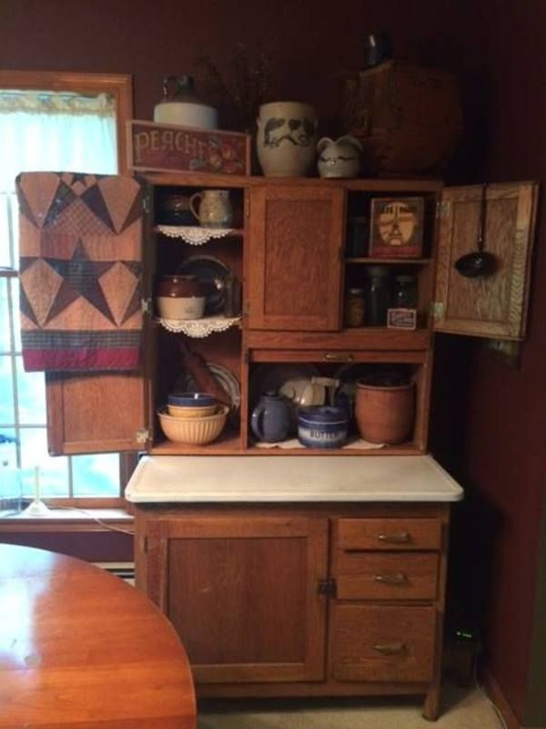 Hoosier Cabinet Display With An Antique Butter Churn Pennsylvania Red Ware Crock And Salt Glaze Crock I Love Hoosier Cabinets