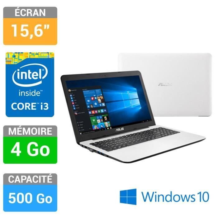 """Ordinateur portable avec écran 15,6"""" - Processeur Intel® Core™ i3-4005U - Mémoire 4Go - Stockage 500Go - Intel HD Graphics 4400 - Graveur DVD - Webcam - Lecteur de cartes SD - Clavier AZERTY avec pavé numérique - Windows 10 - Garantie 1 an"""