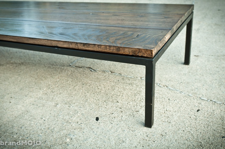 The Garcia Collection Modern Coffee Table 65x17x10 industrial sleek contemporary reclaimed wormy chestnut steel customized furniture. $700.00, via Etsy.