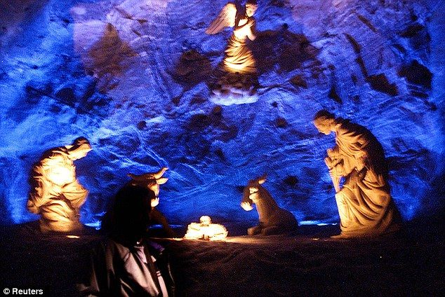 Mining: Zipaquira's Salt Cathedral is built in a salt mine near the town in Colombia