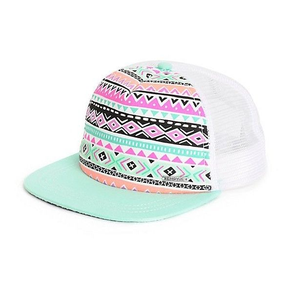 Empyre Sunrise Tribal Trucker Hat ($15) ❤ liked on Polyvore featuring accessories, hats, tribal hats, trucker hat, flat hats, tribal print hat and colorful hats