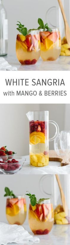 This white wine sangria with mango and berries is the perfect fruity, summer cocktail / White Sangria Recipe