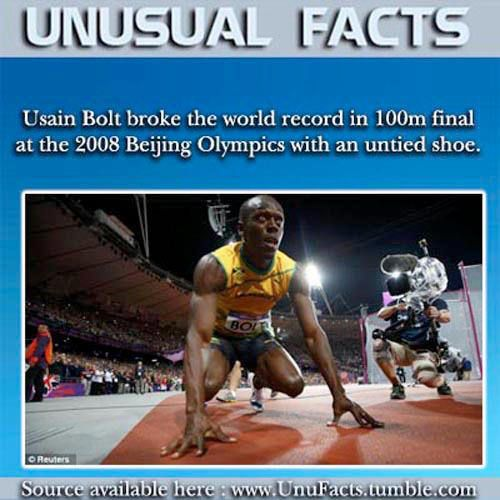 Running Matters #231: Usain Bolt broke the world record in 100m final at the 2008 Beijing Olympics with an untied shoe.