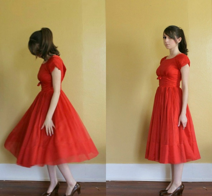 vintage 1950s party dress ll vintage 50s red chiffon by fanciness