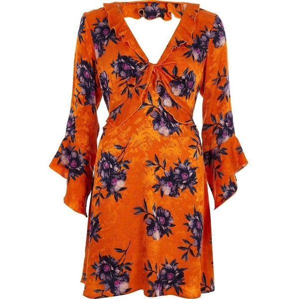 River Island Orange floral jacquard frill tea dress ($110) ❤ liked on Polyvore featuring dresses, orange, shift dresses, women, mini shift dress, shift dress, long-sleeve shift dresses, orange long dress and floral mini dress