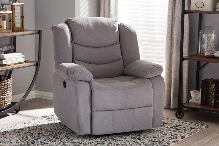 Baxton Studio Lynette Grey Fabric Power Recliner Chair