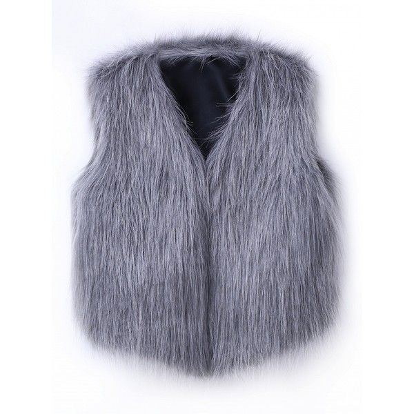 Choies Gray And White Collarless Cropped Faux Fur Waistcoat ($18) ❤ liked on Polyvore featuring outerwear, vests, grey, faux fur vests, crop vest, white faux fur vest, faux fur waistcoat and grey waistcoat