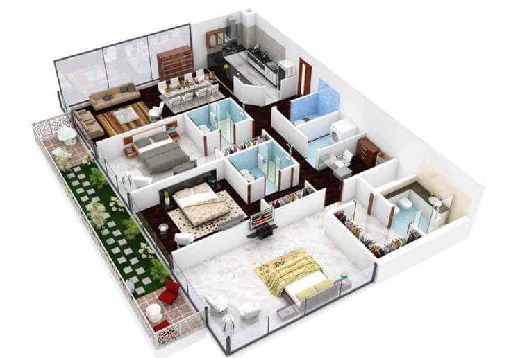 denah rumah minimalis 3 kamar tidur lantai putih