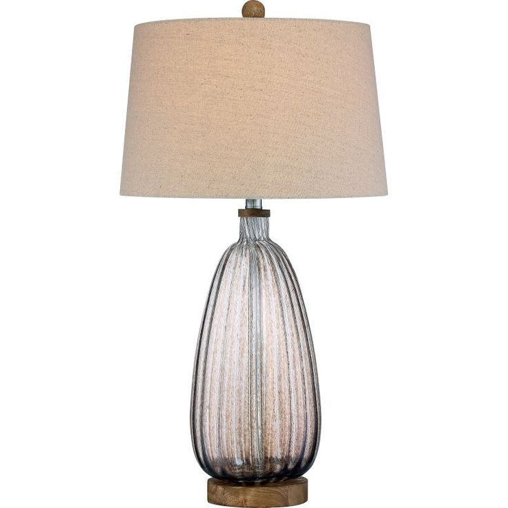 """Quoizel Q2323T Signature 1 Light 30"""" Tall Accent Table Lamp with Fabric Drum Sha Mottled Brown Lamps Table Lamps Accent Lamps"""